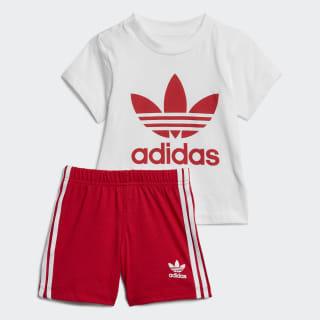 Trefoil Shorts Tee Set White / Scarlet ED7667