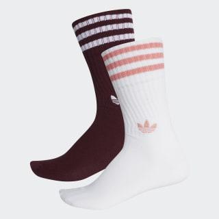 Chaussettes mi-mollet Solid (lot de 2 paires) Maroon / White / White / Tactile Rose DH3361