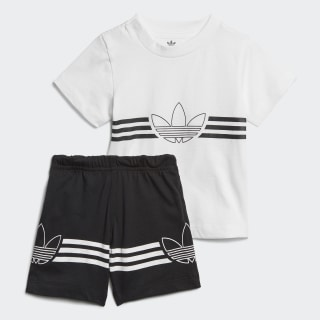 Conjunto Polo y Shorts Outline Top:white Bottom:BLACK ED8663