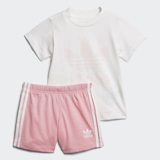 Shorts and Tee Set White / Light Pink D96056