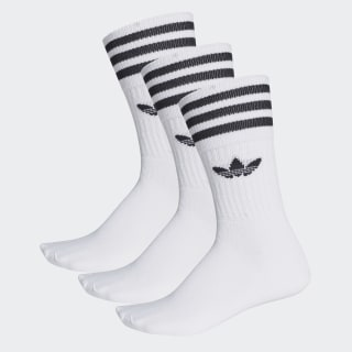 Solid Crew Sock 3 Pairs White / Black S21489