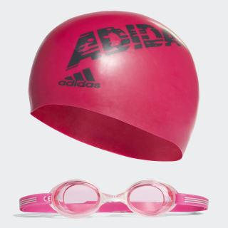 adidas swim kids bone ve yüzücü gözlüğü takımı Bold Pink / Grey / Bloom AB6070