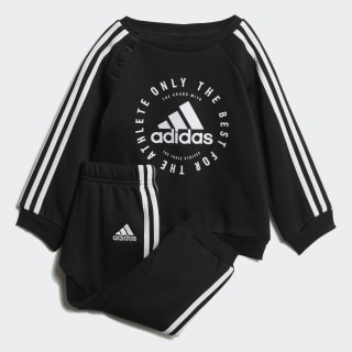Fleece 3-Stripes joggingdragt Black / White DV1285