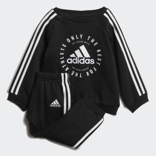Флисовый комплект: джемпер и брюки 3-Stripes black / white DV1285