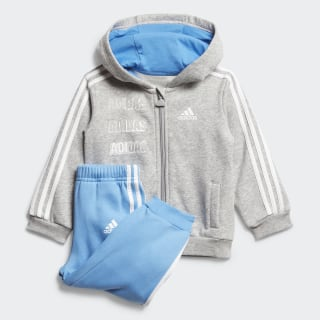 Hooded Fleece Joggingpak Medium Grey Heather / Lucky Blue / White FM6388