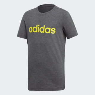 Playera Essentials Linear DARK GREY HEATHER/SHOCK YELLOW DJ1769