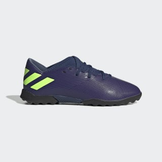 Zapatilla de fútbol Nemeziz Messi 19.3 moqueta Tech Indigo / Signal Green / Glory Purple EF1811