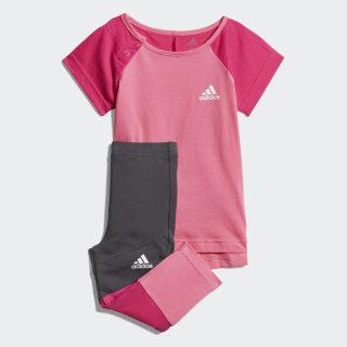 Conjunto Polera y Calzas Mini Me Semi Solar Pink / Real Magenta / White DV1252