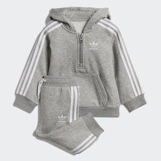 Флисовый комплект: толстовка и брюки Hoodie medium grey heather / white DV2806