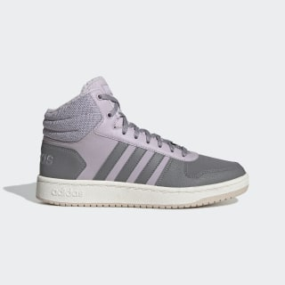 Утепленные кроссовки Hoops 2.0 Mid mauve / grey three f17 / matte silver EE7878