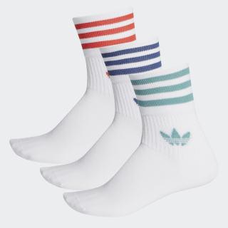 Mid-Cut Crew Socks 3 Pairs White / White / White FM0639