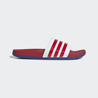 Adilette Cloudfoam Plus Stripes Slides Cloud White / Scarlet / Team Royal Blue EG1853