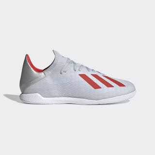 Chuteira X 19.3 - Futsal Silver Metallic / Hi-Res Red / Cloud White F35370