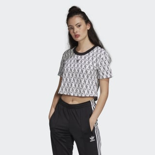 Укороченная футболка adidas black / white FM1065