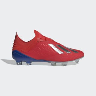X 18.1 Firm Ground Cleats Active Red / Silver Metallic / Bold Blue BB9347