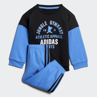 Graphic Terry Jogger Set Black / Real Blue ED1169