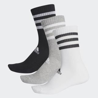 3-Stripes Cushioned Crew Socks 3 Pairs Medium Grey Heather / White / Black DZ9345