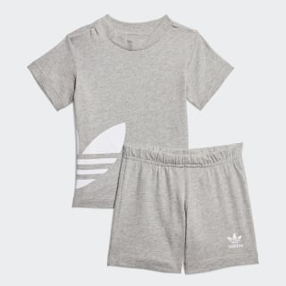 Súprava Big Trefoil Shorts Tee Medium Grey Heather / White FT8798