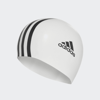 adidas silicone 3 stripes swim cap White / Black 802309
