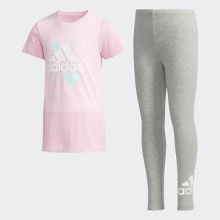 Комплект: футболка и леггинсы Tee-and-Tights true pink / medium grey heather DW4026