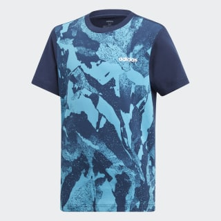 Playera Essentials Allover Print collegiate navy / shock cyan / white DV1764