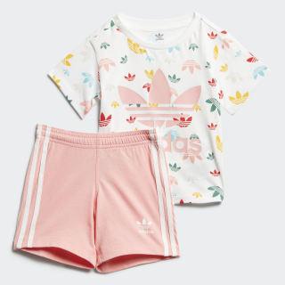 Conjunto de camiseta y pantalón corto Gift White / Multicolor / Glory Pink FR5308