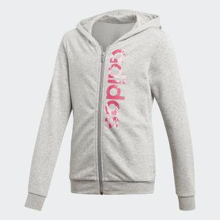 Essentials Linear Print Hoodie Medium Grey Heather / True Pink / Real Magenta DV0344