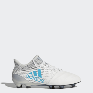 X 17.1 Firm Ground Leather Cleats Cloud White / Energy Blue / Clear Grey S82303