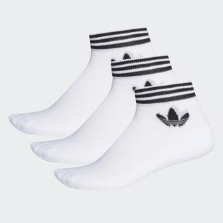 Trefoil Ankle Socks 3 Pairs White / Black EE1152
