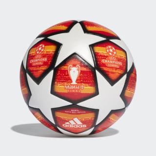 Bola UCL Finale Madrid Society+ top:white/active red/scarlet/solar red bottom:bright orange/solar gold/black DN8677