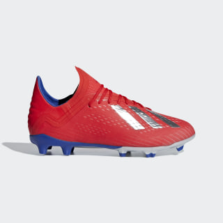 X 18.1 Firm Ground Cleats Active Red / Silver Metallic / Bold Blue BB9353
