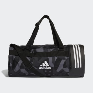 3-Stripes Convertible Graphic Duffel Bag Black / White / White DT8653