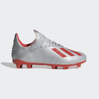 Scarpe da calcio X 19.1 Firm Ground Silver Met. / Hi-Res Red / Cloud White F35683