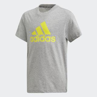 Must Haves  Badge of Sport T-Shirt Medium Grey Heather / Shock Yellow DV0823