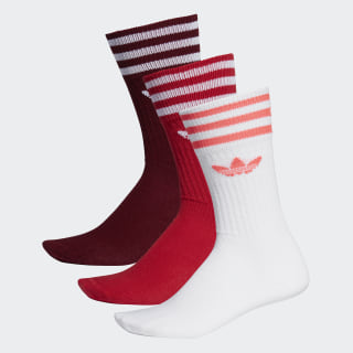 Meia Solid Crew - 3 Pares Collegiate Burgundy / Scarlet / White ED9360