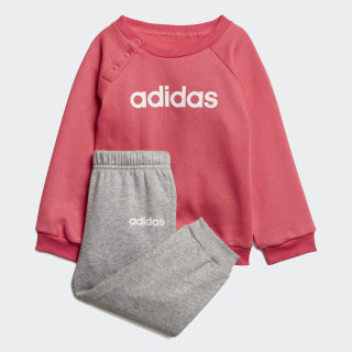 Linear Fleece Jogger Set Real Pink / Medium Grey Heather / White EI7962