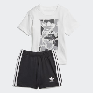Camo Trefoil Shorts and Tee Set White / Multicolor D96095