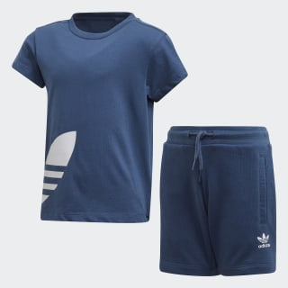 Big Trefoil Shorts und T-Shirt Set Night Marine / White FM5619