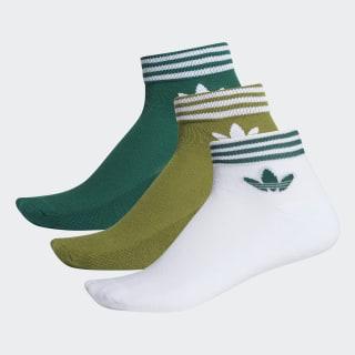 Trefoil Ankle Socks 3 Pairs Tech Olive / Collegiate Green / White EE1154