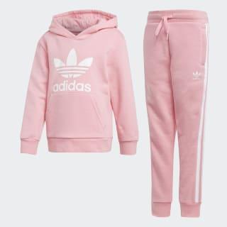 Conjunto sudadera con capucha y pantalón Trefoil Light Pink / White D98859