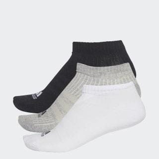 3-Stripes No-Show Socks 3 Pairs Black / Medium Grey Heather / White AA2281