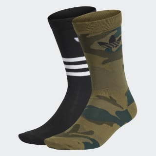Trefoil Mid-Cut Crew Socks 2 Pairs Black / Olive Cargo FM0675