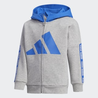 French Terry Hoodie Medium Grey Heather / Blue FN0926