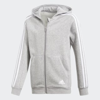 Veste à capuche Essentials 3-Stripes Medium Grey Heather/White CF6584