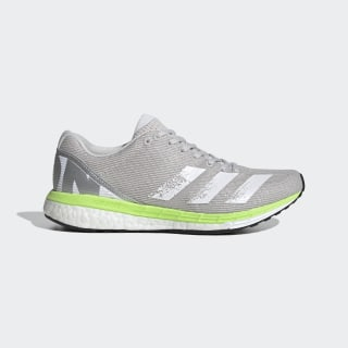 adizero Boston 8 Schoenen Grey One / Cloud White / Signal Green EG1170