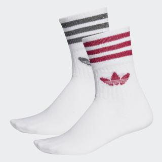 Mid-Cut Glitter Crew Socks 2 Pairs White / Energy Pink / Silver Met. ED5906