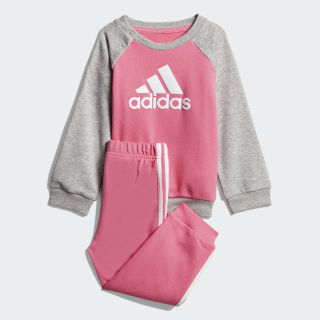 French Terry Jogger Set Semi Solar Pink / Medium Grey Heather / White DV1288