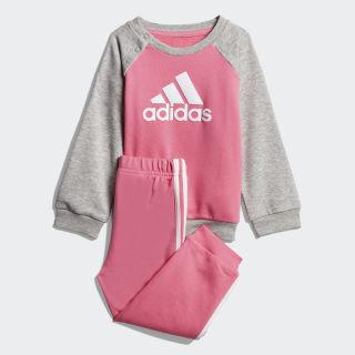 French Terry joggingdragt Semi Solar Pink / Medium Grey Heather / White DV1288