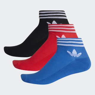 Meias Trefoil Cano Médio - 3 Pares BLACK/RED/BLUE D98971