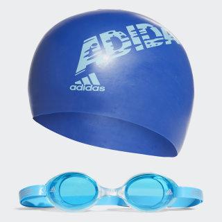 adidas swim kids bone ve yüzücü gözlüğü takımı Bold Blue / Bright Cyan / Pool Blue Dnm AB6071